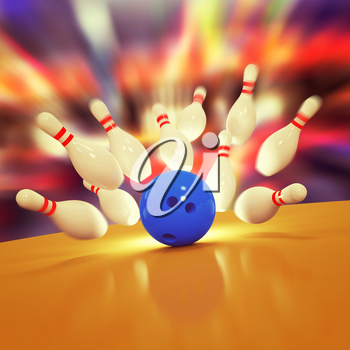 Illustration of spread skittles and bowling ball on wooden floor