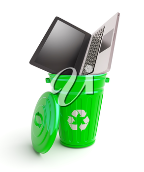 Green garbage bin with computer isolated on white