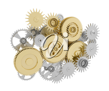White and brown gears on white background