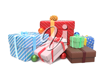 Pile of colorful wrapped presents for Christmas or other celebration isolated on white background