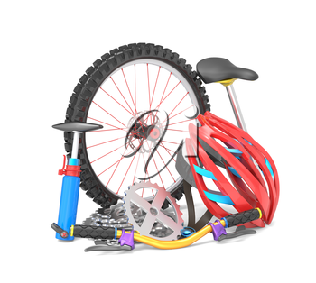 Equipment for biking isolated over white background