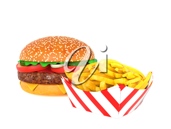 Hamburger and fries isolated on white background