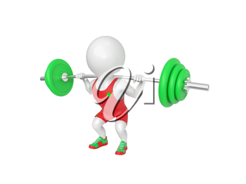 Small white weight-lifter raises the bar on white background