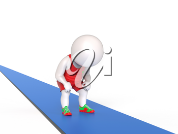 3D little tired man standing on treadmill