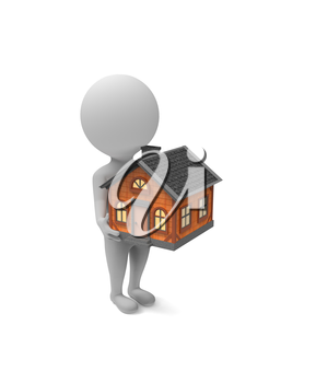 3d little white man holds a house in his hands on white background