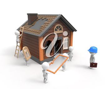 3D little people are building the house