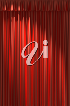 Red silk curtain with gathers under the diagonal spot light
