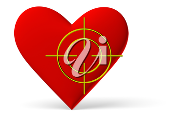 Red heart symbol with target isolated on white background, 3D illustration
