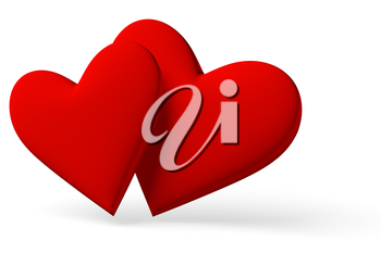 Couple of red hearts symbol with shadow isolated on white background, 3D illustration