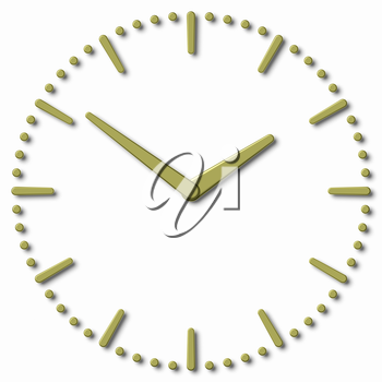Simple clock face with yellow metal hour hand, yellow metal minute hand with shadows on white clock face with yellow metal hours and minutes markers, 3d illustration
