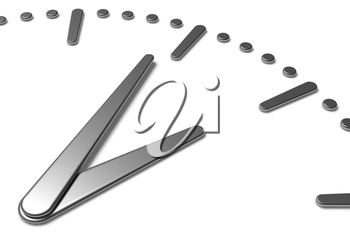 Simple clock face with metal hour hand, metal minute hand with shadows on white clock face with metal hours and minutes markers, 3d illustration diagonal view