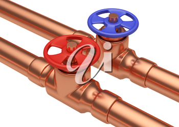 Plumbing pipeline with cold water and hot water pipes water supply system industrial construction: red valve and blue valve on two copper pipes isolated on white background, diagonal view, industrial