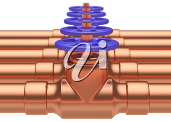 Abstract creative plumbing or gas pipeline industrial concept: copper pipes series with blue valves and selective focus effect, focuse on valve with shallow depth of field, industrial 3D illustration