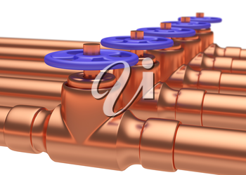 Abstract creative plumbing or gas pipeline industrial concept: copper pipes series with blue valves and selective focus effect, focuse on valve, shallow depth of field, industrial 3D illustration