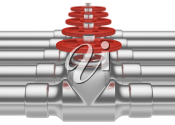 Abstract creative plumbing or gas pipeline industrial concept: steel pipes series with red valves and selective focus effect, focuse on valve with shallow depth of field, industrial 3D illustration