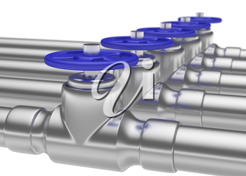 Abstract creative plumbing or gas pipeline industrial concept: steel pipes series with blue valves and selective focus effect, focuse on valve with shallow depth of field, industrial 3D illustration