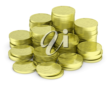 Business finance, financial success and wealth abstract creative concept: heap of gold dollar coins towers arranged in golden stack with small shadows isolated on white background, diagonal view