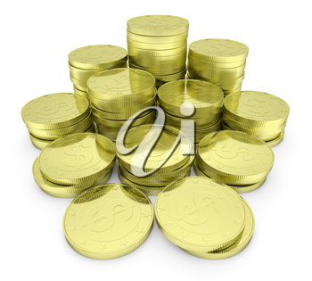 Business finance, financial success and wealth abstract creative concept: heap of gold dollar coins towers arranged in golden stack with small shadows isolated on white background closeup view