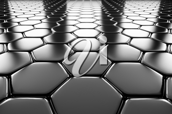 Steel hexagons flooring metal surface perspective view shiny abstract industrial background
