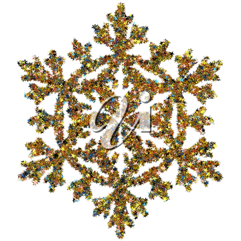 Decorative snowflake made of small colored foil stars confetti isolated on white background