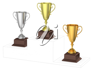 Sports winning and championship and competition success concept - golden, silver and bronze winners trophy cups isolated on the imaginary winners podium drawn by gray contour lines 3d illustration dia