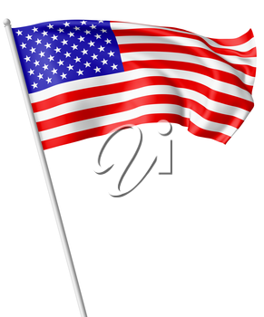 National flag of United States of America with stars and stripes with flagpole flying and waving in the wind isolated on white, 3d illustration