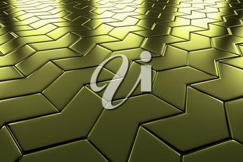 Golden arrow blocks flooring diagonal perspective view shiny abstract industrial background