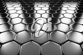 Metal surface of steel hexagons perspective view shiny abstract industrial background