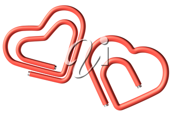 Two red connected paperclips in the heart shape isolated on white background