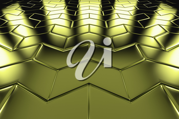 Golden arrow blocks flooring perspective view shiny abstract industrial background