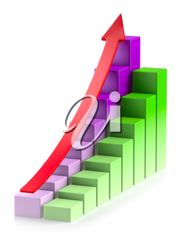 Abstract creative statistics, financial growth, business success and development concept: growing colorful bar chart in two rows with red up arrow on white background with reflection, 3d illustration