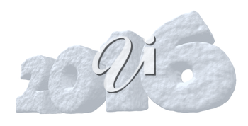 Date New Year 2016 made of snow isolated on white background 3d illustration