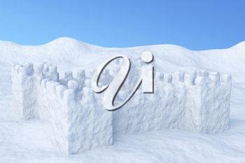 White toy show fort on the uneven snow surface under blue sky three-dimensional illustration