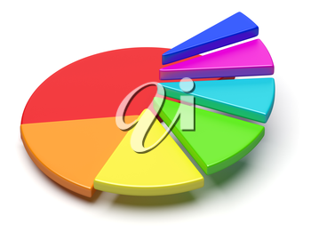Abstract business statistics, financial analysis, success, growth and development concept: colorful 3D pie chart with flying separated segment in form of ascending stairs