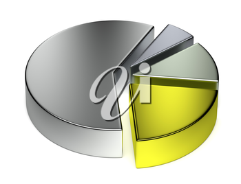 Creative abstract business statistics, financial analysis, precious metal trading concept: separated metallic 3D pie chart on white background