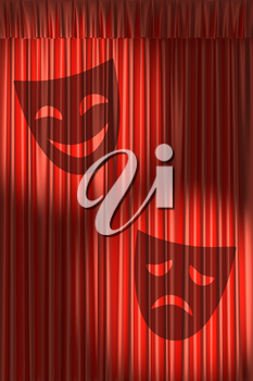 Red theater curtain with shadow of masks with gathers under two round spot lights