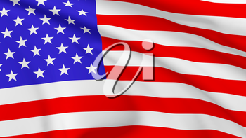 National flag of United States of America flying in the wind, 3d illustration