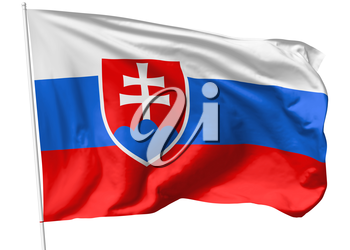 National flag of Slovak Republic (Slovakia) on flagpole flying in the wind isolated on white, 3d illustration