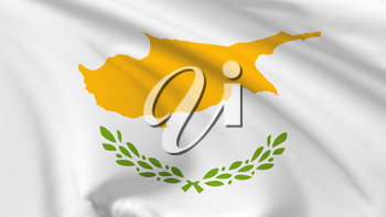 National flag of Republic of Cyprus flying in the wind, 3d illustration closeup view