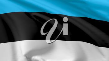 National flag of Republic of Estonia flying in the wind, 3d illustration closeup view