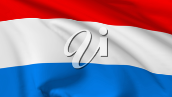 National flag of Netherlands flying in the wind, 3d illustration closeup view