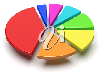 Abstract business statistics, financial analysis, growth and development concept: colorful 3D pie chart with flying separated segments on white background