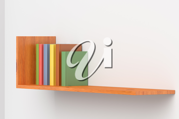 Colored books on wooden bookshelf on white wall 3D illustration