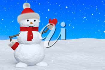Cheerful snowman with red fluffy hat, scarf and mittens on snow under blue sky and snowfall pointing to something, 3d illustration with copy-space