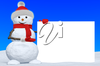 Cheerful snowman shows blank white board in red fluffy hat, scarf and mittens on snow under blue sky, 3d illustration