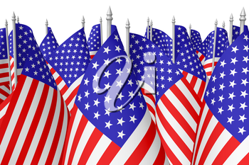 Many small american flags with stars and stripes isolated on white background closeup. Independence Day 4th of July, Veterans Day and Memorial Day celebration in USA concept, 3d illustration