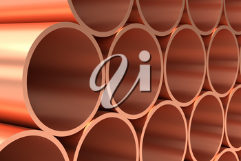 Heavy metallurgical industry production and non-ferrous industrial products creative abstract illustration: many stainless metal shiny copper pipes lying in rows closeup, industrial 3D illustration