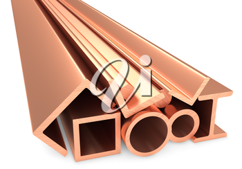 Metallurgical industry non-ferrous industrial products -stainless rolled metal copper products (pipes, profiles, girders, bars, balks and armature) on white, industrial 3D illustration