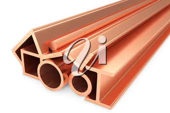 Metallurgical industry non-ferrous industrial products - group of stainless rolled copper metal products (pipes, profiles, girders, bars, balks and armature) on white, industrial 3D illustration