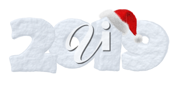 Happy New Year text 2019 written with numbers made of snow with Santa Claus fluffy red hat, winter snow symbols 3d illustration isolated on white.
